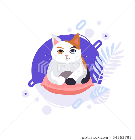Cartoon Cat Laying On The Red Pillow And Stock Illustration