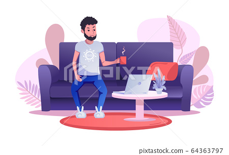A man works remotely, sitting on the sofa and drinking a cup of tea or coffee. Completed flat cartoon vector illustration. 64363797