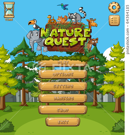Background design for computer game with forest 64364185