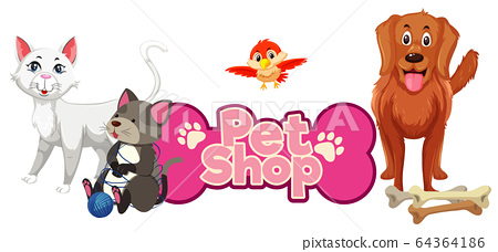 Font design for pet shop with many cute animals 64364186