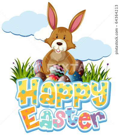Happy Easter design with brown bunny and eggs in 64364213