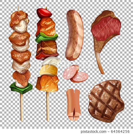 Set of grilled food on transparent background 64364256