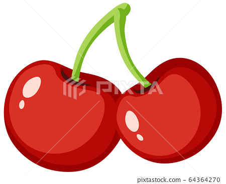 Red cherries on white background 64364270