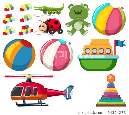 Large set different toys on white background 64364278