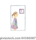 寂寞的女孩,窗户和墙上的钟 64366087