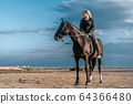 Woman rides horse on beautiful autumn nature landscape by river or lake. Sun flare, beautiful 64366480