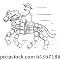 Vector Cartoon Illustration of Man or Cowboy Riding on Horse Made From Toilet Paper Rolls. 64367186