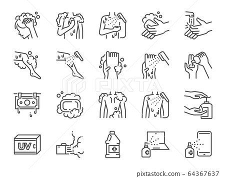 Body wash line icon set. 64367637