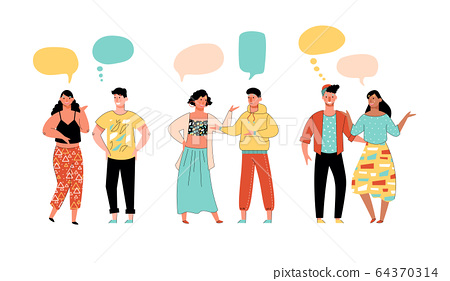 Young couples communicating, sketch cartoon vector illustration isolated. 64370314