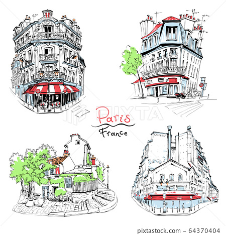 Typical Parisian housees, France 64370404