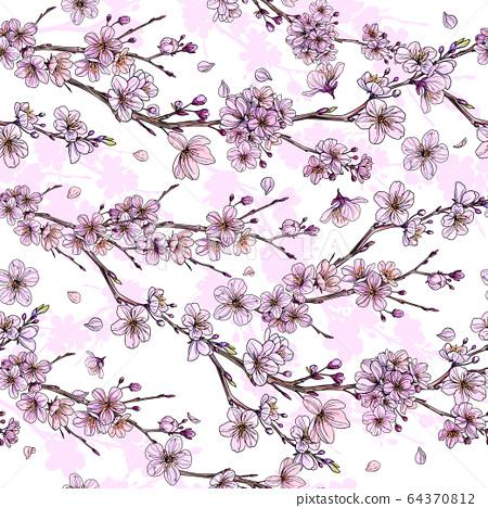 Sakura in bloom, seamless pattern, hand drawn 64370812