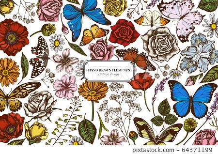 Floral design with colored shepherd's purse, heather, iris japonica, sakura, gypsophila, chamomile, almond, poppy flower, calendula, menelaus blue morpho, blue morpho, lemon butterfly, red lacewing 64371199