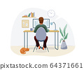 Work at home concept design. Freelancer man working on computer at his house office and striped red cat pet near him. Vector illustration isolated on white background 64371661