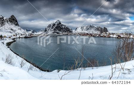 Panorama of beautiful sunrise in Norway - lofotens 64372194