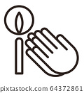 Praying hands and candle icon. 64372861