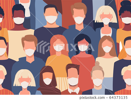 Vector seamless pattern in flat style with people of different nationalities wearing medical masks. Global society. Cultural diversity. Disease epidemic. Coronavirus COVID-19. Quarantine 64373135