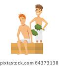 Bathhouse or banya procedure. Vector flat people. Activity for wellness and recreation. People Enjoying Sauna Procedures 64373138