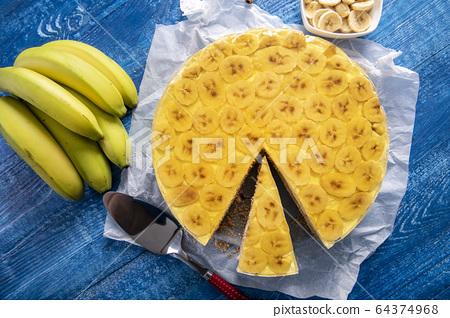 Tasty homemade banana cake with jelly 64374968