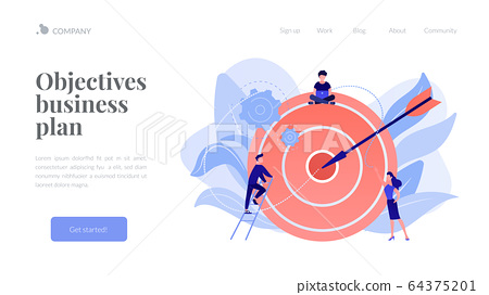 Goals and objectives concept landing page. 64375201