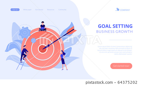 Goals and objectives concept landing page. 64375202