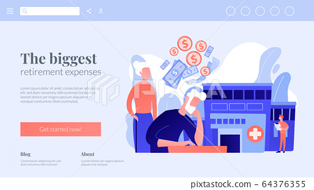 Healthcare expenses of retirees concept landing page. 64376355