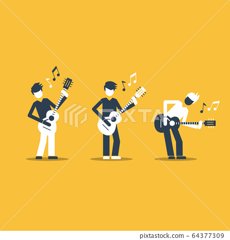 Music band playing live concert, three guitarists 64377309