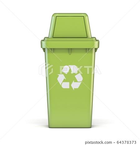 Green plastic recycle bin 3D 64378373