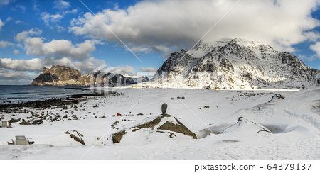 Panorama of winter Uttakleiv beach in Norway 64379137