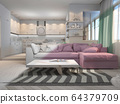 3d illustration of small apartments in pastel colors. Interor design living room and kitchen in modern style 64379709