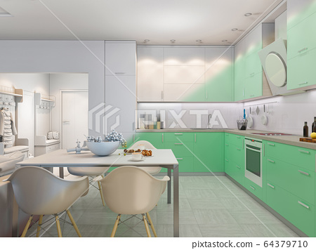 3d Illustration Of Small Apartments In Pastel Stock Illustration 64379710 Pixta