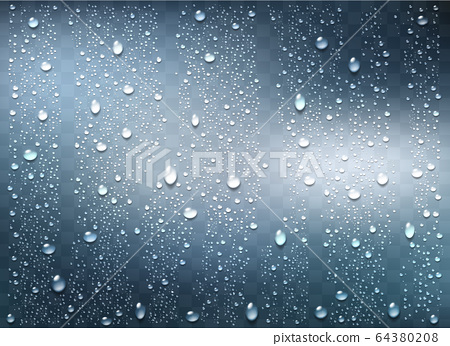 Realistic water droplets on the transparent 64380208