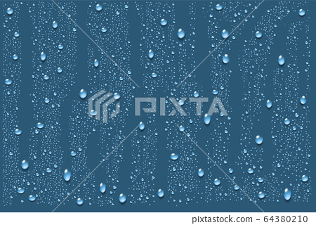 Realistic water droplets. Vector 64380210