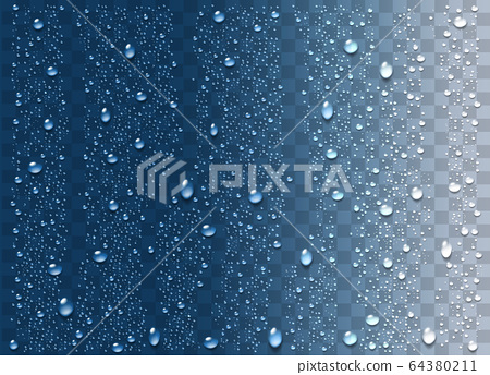 Realistic water droplets on the transparent 64380211