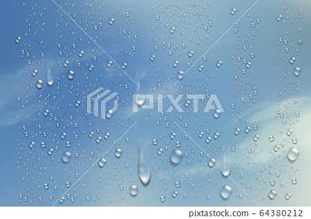 Realistic water droplets on the transparent 64380212