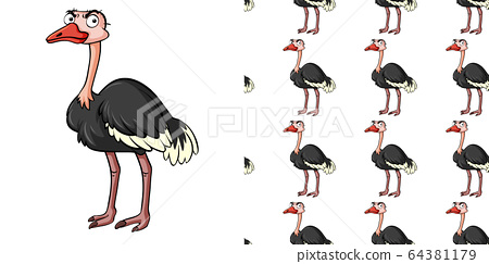Seamless background design with angry ostrich 64381179