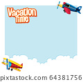 Background template design with airplanes flying 64381756