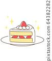 Shortcake on a plate 64382282