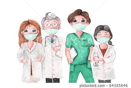 Medical team and staff, Doctor wearing medical mask. Watercolor illustration. 64385646