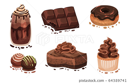 Chocolate Desserts with Doughnut and Bar of Chocolate Vector Set 64389741