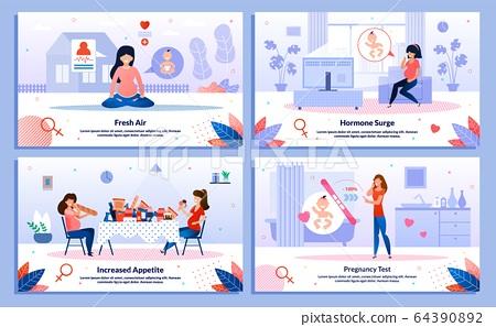Pregnant Woman Health, Feelings Vector Banners Set 64390892