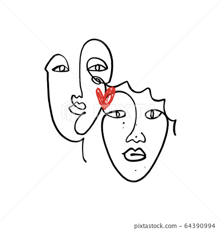 Simple hand drawn black and white trendy line portrait faces art. Color print for clothes, textile and other. Vector illustration, EPS 64390994