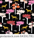African safari savannah seamless vector background black. Leopards, jaguar and cheetah between 64391781