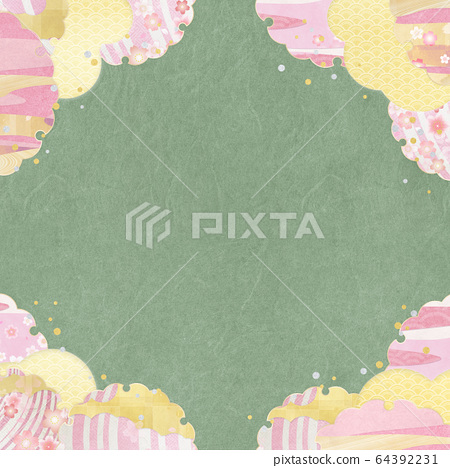 Japanese style background material-Spring-Sakura-Snow ring-Gold-Match brown (square) 64392231