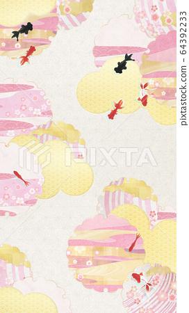 Japanese Style Background Material-Spring-Sakura-Snow Ring-Gold-Pink-Goldfish (16: 9) 64392233