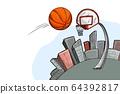 Streetball urban playground, ball, city and basket 64392817