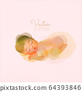Watercolor illustration of cute newborn baby 64393846