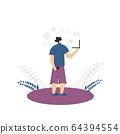 Bleisure concept. Work life balance. Vector person 64394554