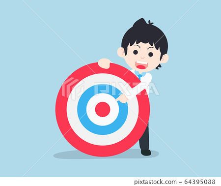 SD Business Man Hold a giant target and point to 64395088