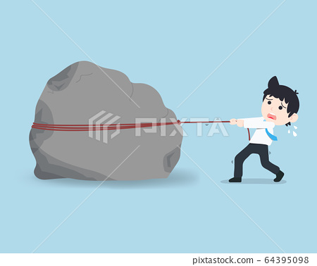 SD Business Man Trying to pull a giant stone, as 64395098
