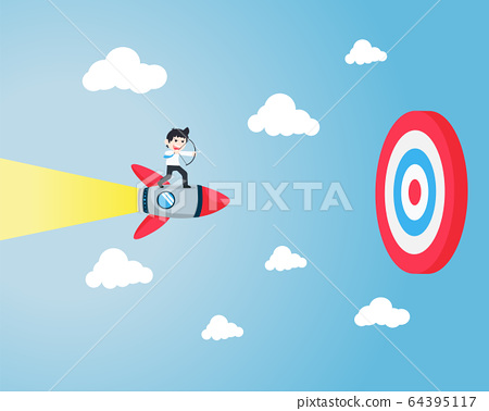 SD Business stands on a rocket, carrying a bow 64395117